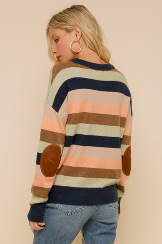 MULTI STRIPE ELBOW PATCH SWEATER