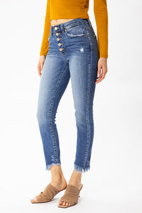 KAN CAN GEMMA BUTTON FLY FRAYED ANKLE SKINNY | SIZE 15
