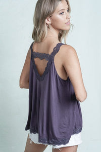 LACE TANK WITH BACK STRAP DETAIL | 3 COLORS