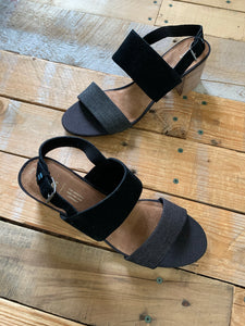 TOMS BLACK SUEDE/DENIM BLOCK HEEL | SIZE 11