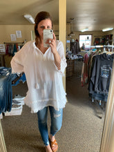 Load image into Gallery viewer, LIGHTWEIGHT FLOWY TUNIC + COVER-UP | WHITE + DENIM