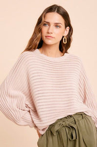 LIGHT PINK BATWING SWEATER
