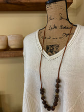 Load image into Gallery viewer, LEATHER + BEAD RUSTIC NECKLACE | 4 BEAD COLORS