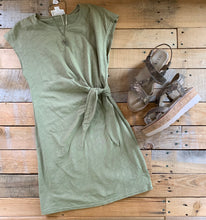 Load image into Gallery viewer, SIDE KNOT T-SHIRT DRESS | OLIVE + BLACK