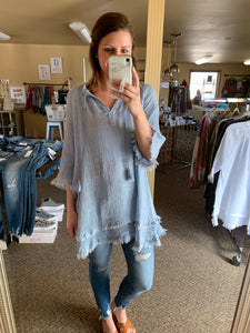 LIGHTWEIGHT FLOWY TUNIC + COVER-UP | WHITE + DENIM
