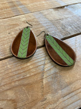 Load image into Gallery viewer, LEATHER CHEVRON EARRING
