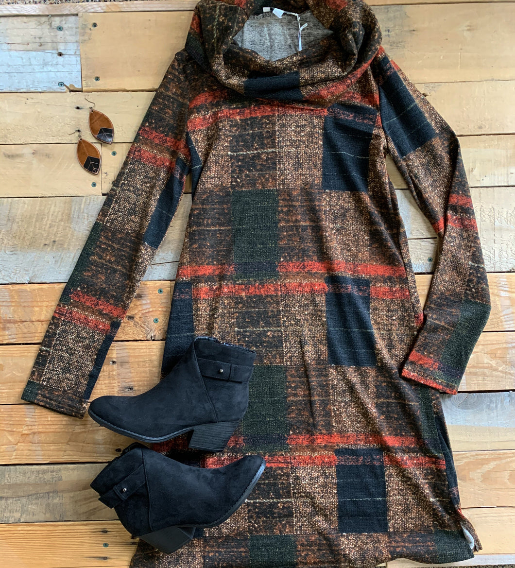 PLAID COWL DRESS