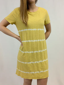 MUSTARD STRIPE SHIBORI TIE DYE T-SHIRT DRESS