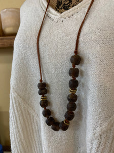 LEATHER + BEAD RUSTIC NECKLACE | 4 BEAD COLORS