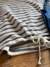 Load image into Gallery viewer, IVORY+GREY STRIPE DRAWSTRING TOP