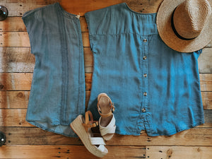 CHAMBRAY TOP WITH BUTTON DOWN BACK | PLUS