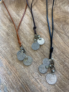 Coin + Leather Necklace