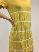 Load image into Gallery viewer, MUSTARD STRIPE SHIBORI TIE DYE T-SHIRT DRESS