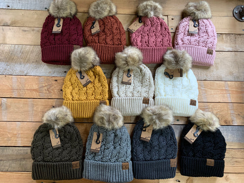 CC CABLE FLEECE LINED POM BEANIE