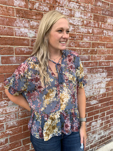 STEEL BLUE FLORAL RUFFLE TOP