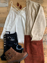 Load image into Gallery viewer, TAUPE/RUST COLOR BLOCK CARDIGAN