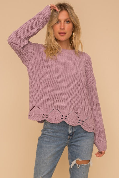 SCALLOPED EDGE LILAC SWEATER