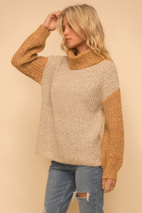 MUSTARD + TAUPE TURTLENECK SWEATER