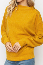 Load image into Gallery viewer, MUSTARD ASYMMETRICAL ZIP DOLMAN