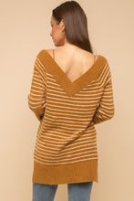 Load image into Gallery viewer, GOLD STRIPE FUZZY OFF SHOULDER SWEATER