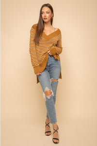 GOLD STRIPE FUZZY OFF SHOULDER SWEATER