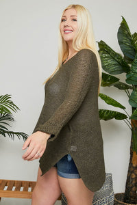 OLIVE LIGHTWEIGHT SWEATER | PLUS