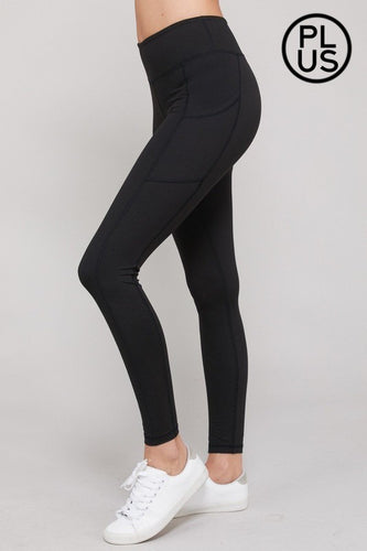 BLACK YOGA BUTTERY-SOFT LEGGINGS WITH POCKET | PLUS