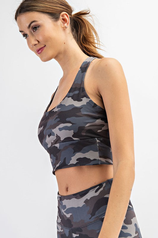 BUTTERY-SOFT CAMO SPORTS BRA