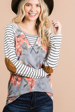 Load image into Gallery viewer, FLORAL/STRIPE MIX TOP WITH ELBOW PATCHES