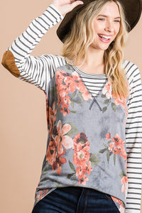 FLORAL/STRIPE MIX TOP WITH ELBOW PATCHES