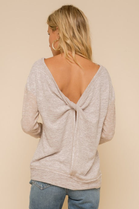 TAUPE OPEN BACK TWISTED TOP