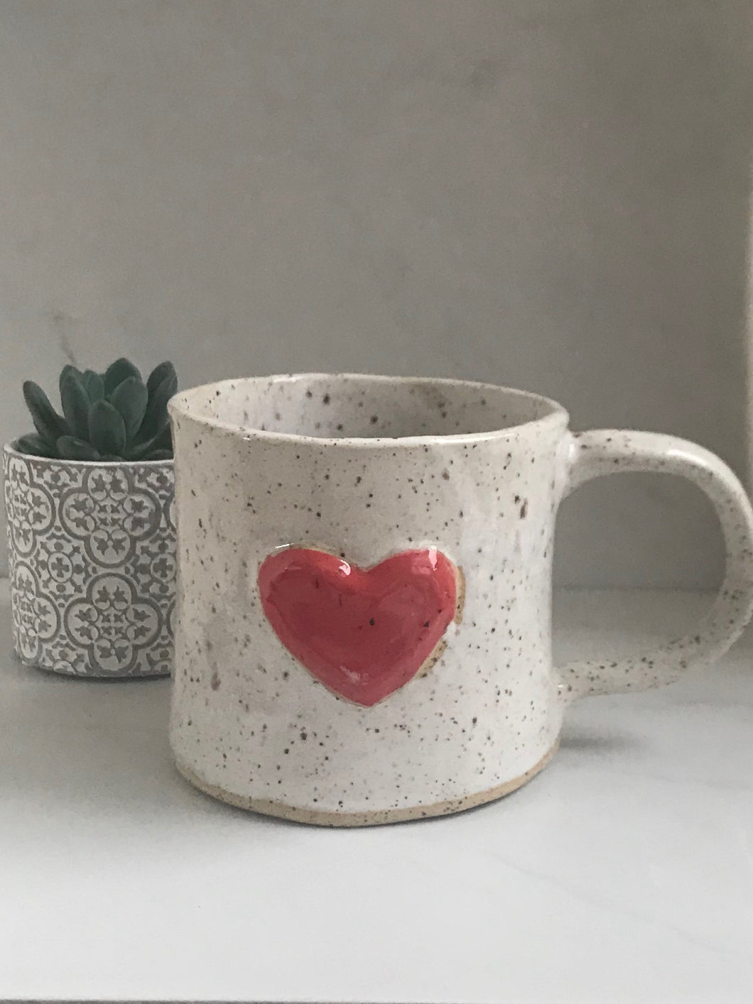 Handbuilt Ceramic Red Heart Mug Arbour Glen Creations