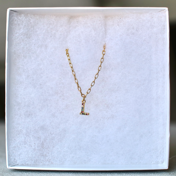 18k Gold Plated Rainbow Initial Necklace