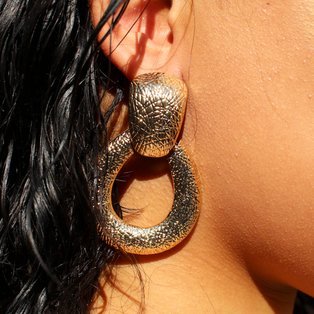 Gold Door Knockers Earrings