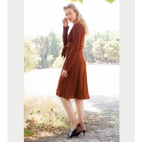 Rhea knitted rust dress καφέ