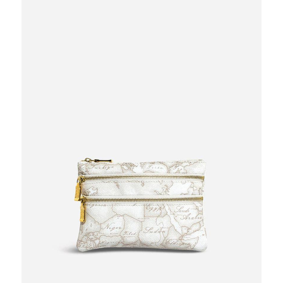 Geo White Medium pouch with pockets