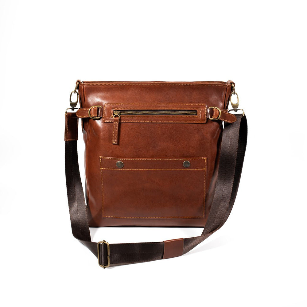 Leather crossbody brown large