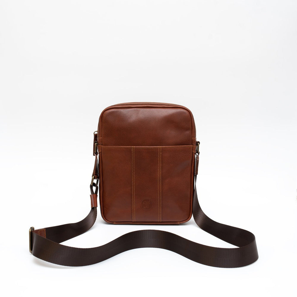 Leather crossbody brown medium