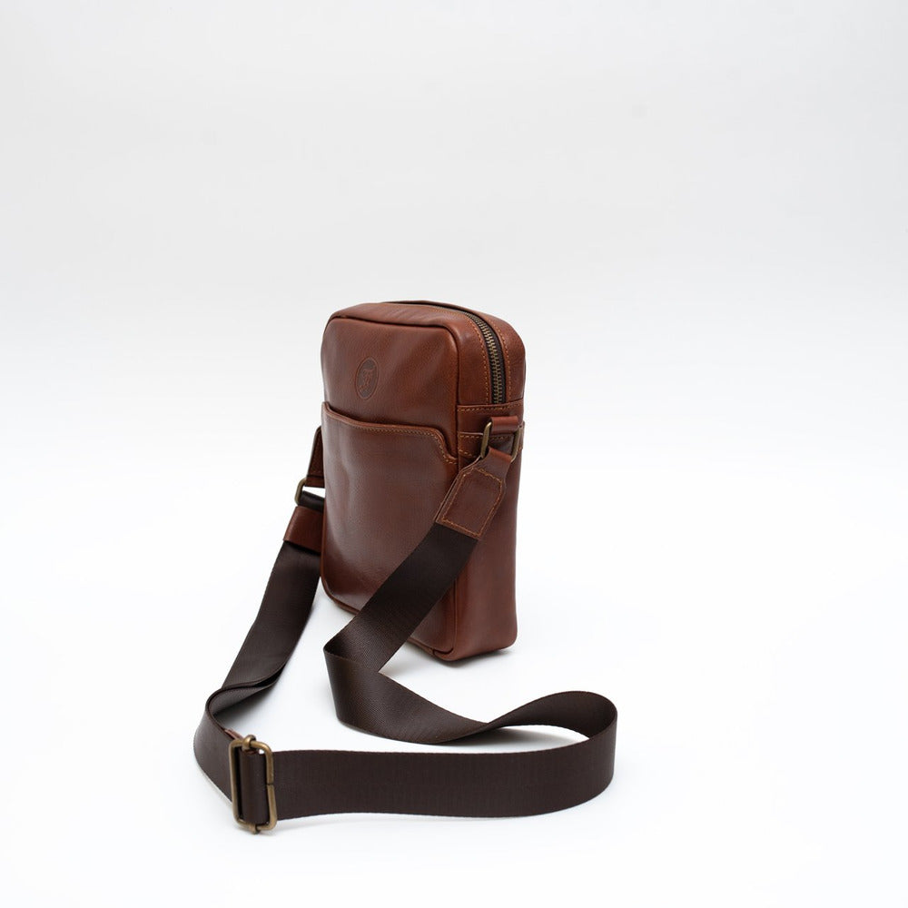 Leather crossbody brown small
