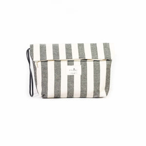 Grey stripped zipper pouch