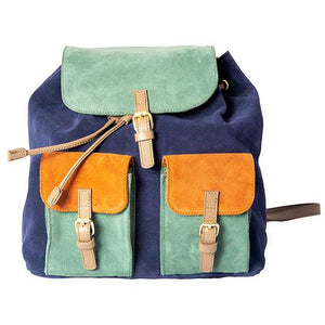 'Tricolore' leather backpack blue
