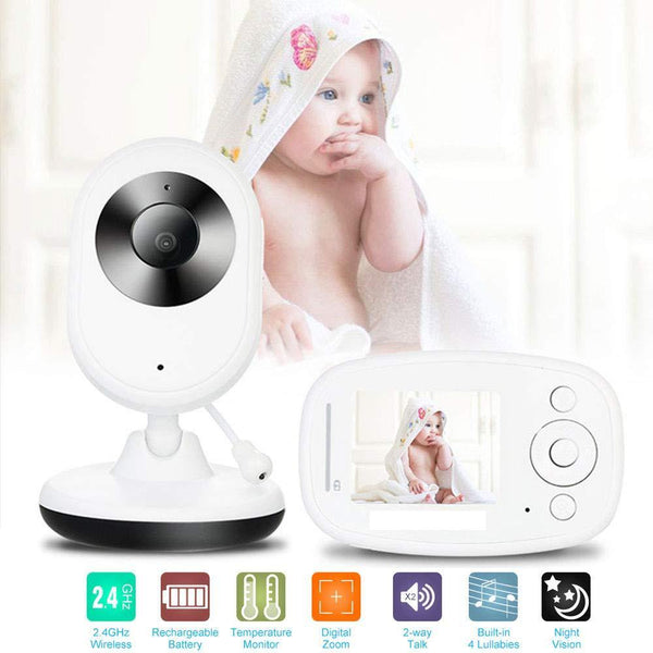 Video Baby Monitor Home Security Camera 2.4 Inch LCD-(White)