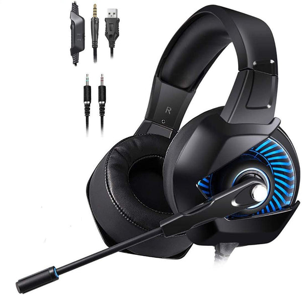 ONIKUMA K6 LED Light Gaming Headset Microphone Bundle with Headphone Stand for PC, Xbox One, PS4,(Black)
