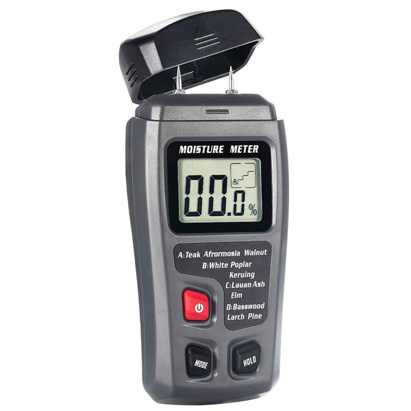 Bside 2-Pin Wood Digital Moisture Wood Meter Large LCD Display- Model: EMT01 (Grey)
