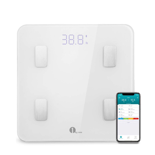 1byone Digital Smart Scale with Wireless Bluetooth iOS and Android App, Body Weight, (White)