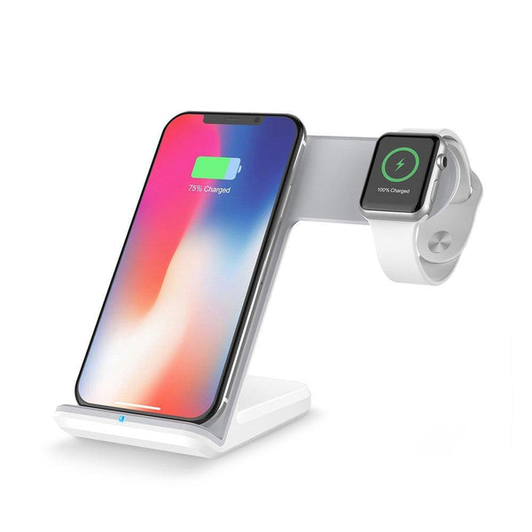 2 in 1 Charging Station Wireless Charger Stand for Apple Watch & Mobiles-(White)