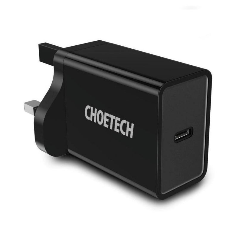 CHOETECH 18W POWER DELIVERY USB TYPE C Fast Charger Adapter- Model: PD-1C18W (Black)