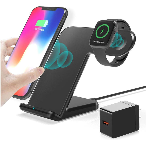 2 in 1 Charging Station Wireless Charger Stand for Apple Watch & Mobiles- - DealsnLots