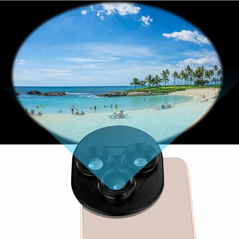 3 in 1 professional mobile phone lens set Integral rotating external wide-angle use + fisheye + Macro Camera lens setModel:ZM-068 (Black)