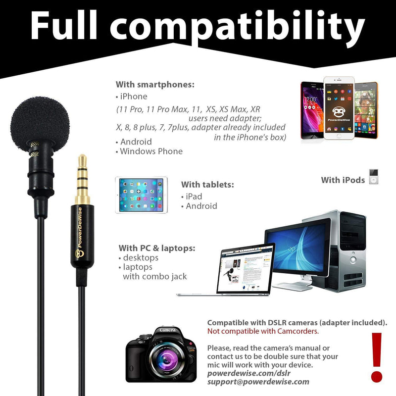 PowerDewise Lavalier Microphone 3.5 jack with easy pressing system to record-(Black) - DealsnLots